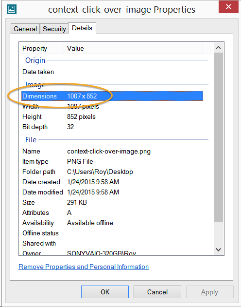 [The Dimensions option in Windows' Photo Viewer Properties panel]