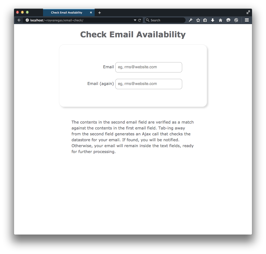 The initial page of the check Email Availability app.