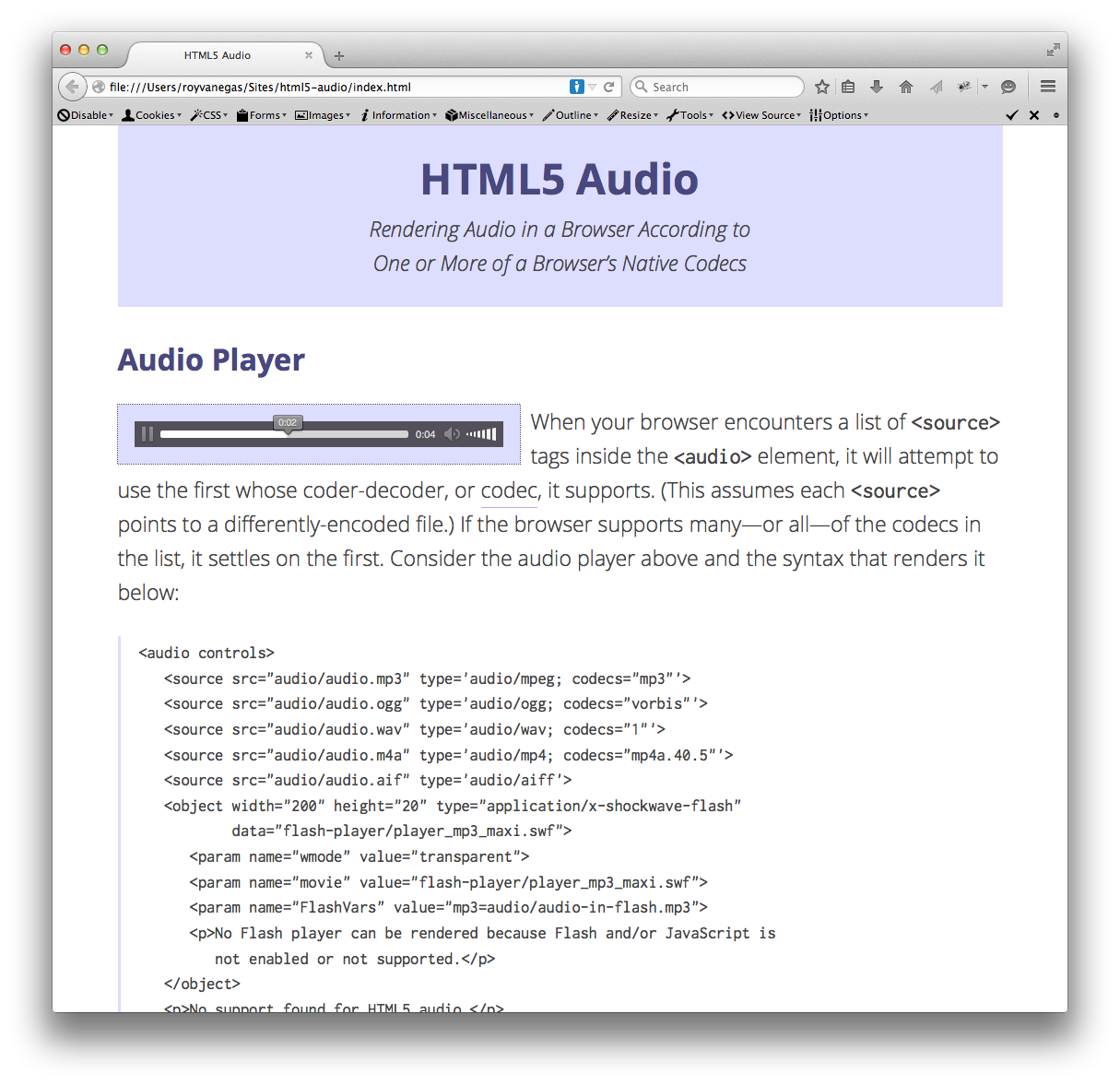 A screen grab of the HTML5 audio tutorial