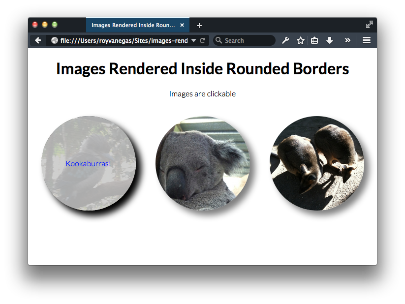 Screen capture of rendering images in circles